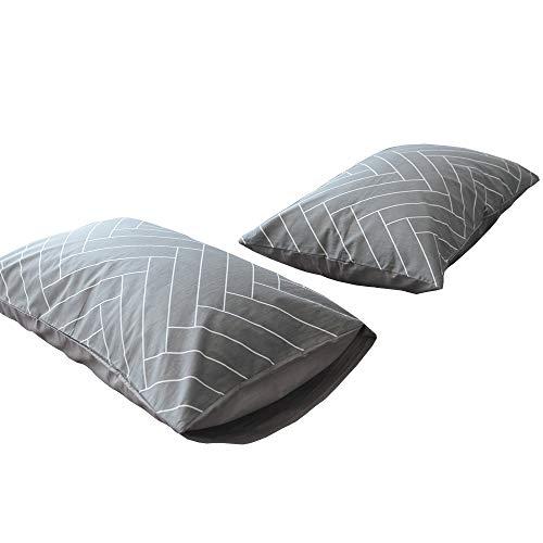 100 Percent Cotton Geometric Chevron Stripe Pillowcases Set of 2 Kids Boys Queen Grey Decorative Pillow Covers Set (2pcs, 20 Inches ×26 Inches) for Boys Girls ,Envelope Closure (Pillowcase,Grey)
