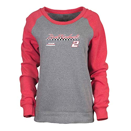 Ouray Sportswear NASCAR Penske Racing Brad Keselowski Womens W Cozy CrewW Cozy Crew, Dark Grey Heather/Red Heather, XL - Nascar Racing Ladies Hat