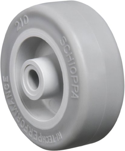 "Schioppa R.210 SP 2"" Diameter x 3/4"" Width Extra Soft Thermoplastic Rubber Wheel, Flat Tread, Wheel Only, 1/4"" Axle, Light Gray"