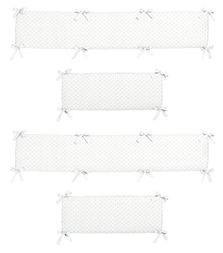 Sweet Jojo Designs White Minky Dot Collection Crib Bumper ()