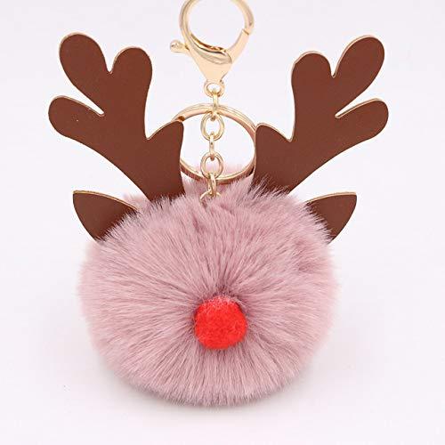 Poof Keychain Cartoon Keychian Christmas moose Hair Ball Keychains Women Charm Bags keychain Christmas Accessories Pendant Car Key 9