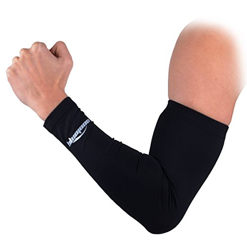 COOLOMG Anti-Slip Arm Sleeves Cover Skin Protection, Black, Medium