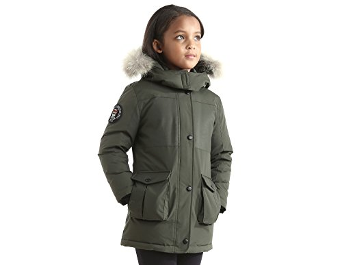 Triple F.A.T. Goose Madigan Girls Hooded Down Jacket Parka With Real Coyote Fur (7, Olive) by Triple F.A.T. Goose