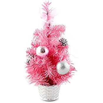 12inch mini desk top table top decorated christmas tree with bows baubles ornaments decorations - Mini Pink Christmas Tree