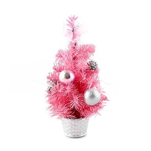 12inch mini desk top table top decorated christmas tree with bows baubles ornaments decorations pink
