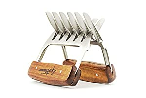 GASTRONOMO Metal Meat Claws With Stainless Steel Bear Shredder Paws for Shredding, Pulling, Handling Chicken, Pulled Pork, Turkey & Brisket - Wooden Handle BBQ Meat Shredders