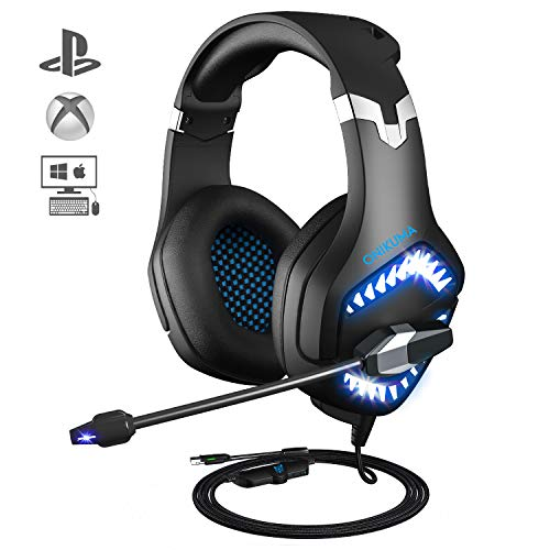 Gaming Headset for PS4,ONIKUMA Xbox One Headset for PC Nintendo Switch Games, 7.1 Surround Sound Stereo Over-Ear Headphones with Flexible Ear Cups, Volume/Mic Control & LED Light
