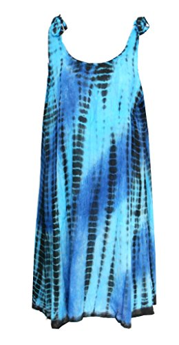- Raya Sun Crinkle Tie Dye Shoulder Tie Dress Royal/Aqua SM