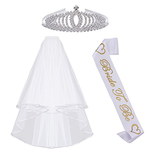 Bachelorette Party Supplies Bride To Be Decorations Kit-White Double Ribbon Edge Center Cascade Bridal Wedding Veil with Comb,Sash and Rhinestone Tiara Crown for Bridal Shower Favor,Hen Party Decor - Edge Tiara