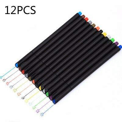 FidgetFidget Fineliner Colors Pen Set 0.4mm Colored Fine Line Sketch Writing Drawing Pens Set 12pcs ()