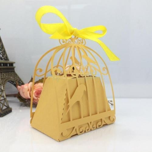 Ribbon Bird Cage Wedding Favor Candy Gift Paper Boxes Golden 10pcs