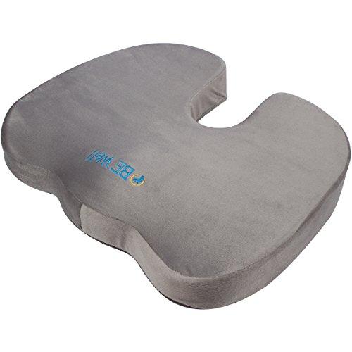 Eva Foam Stadium Seat Cushion (BE Well Seat Cushion - Premium Orthopedic Memory Foam (Gray) - Comfort Chair Pillow for Lower Back Pain, Coccyx, Tailbone, Lumbar Support, & Sciatica - By Brimma)