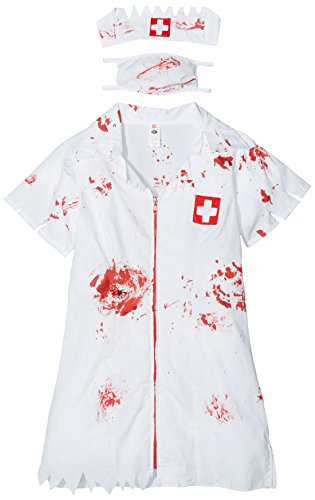 Smiffys Women's Zombie Nurse Costume, Dress, Mask and Headpiece, National Horror Service, Halloween, Size 14-16, 34132
