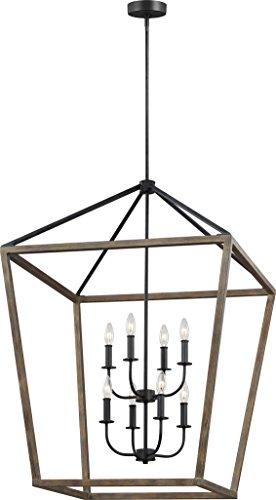 26 Inch Wide Pendant Light - Feiss F3194/8WOW/AF Gannet Wood Lantern Pendant Lighting, Brown, 8-Light (26