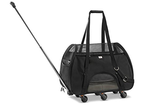 "WPS Pet Carrier with Wheels for Small Dogs and Cats - Removable Fleece Bed, Soft Sided, Mesh Windows, Leash Clip, Handle, Carrying Strap - Bone Design – 11""x22""x16 (Soft Black)"