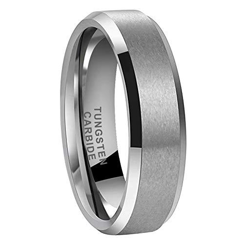 iTungsten 6mm 8mm Tungsten Rings for Men Women Wedding Bands Matte Finish Beveled Edges Comfort Fit