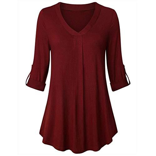Manche Manches Longues Longue Trydoit Longues Femme Longues Courte Manches Manches Chemise Rouge T Shirt UCwxqYP