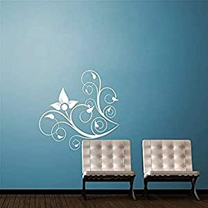 Amazon.com: Corner Swirl Flower Vinyl Wall Decal Decal