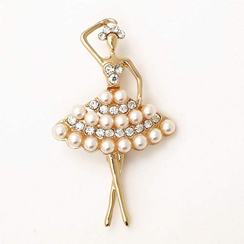 Bridal Accessories Gold Color Pearl Dancing Ballet Girl Brooch Rhinestone Pin ()