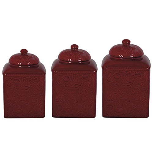 HiEnd Accents Savannah Red Canister 3-piece Set by HiEnd Accents