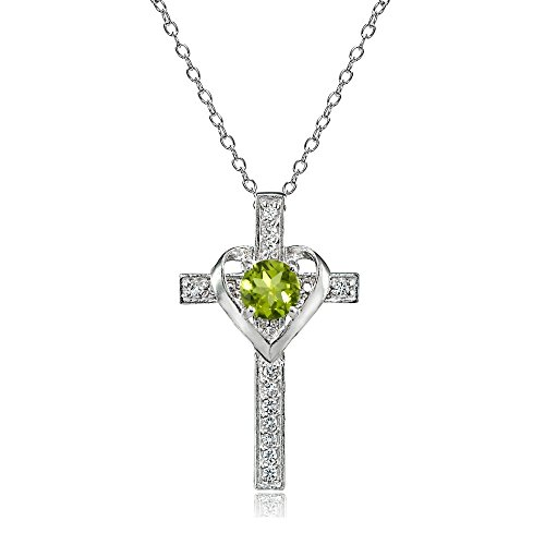 Sterling Silver Peridot and White Topaz Heart in Cross Necklace for Women Girls ()