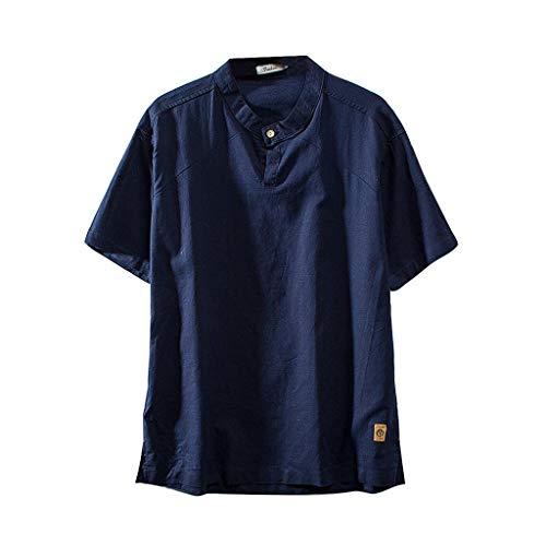 KINGOL Mens Fashion Cotton Linen Shirts Solid Color