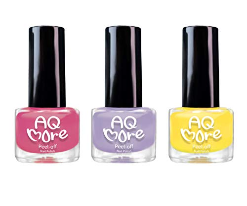 AQMORE Premium Water Based Nail Polish - Pure Minerals, Ultra Long Lasting, Easy Peel Off, Gel Manicures Like, Quick Drying, Non Toxic, Lab Tested, (Strawberry Pie 3 Color Set) 0.20 fl oz/Bottle - Lab Pie