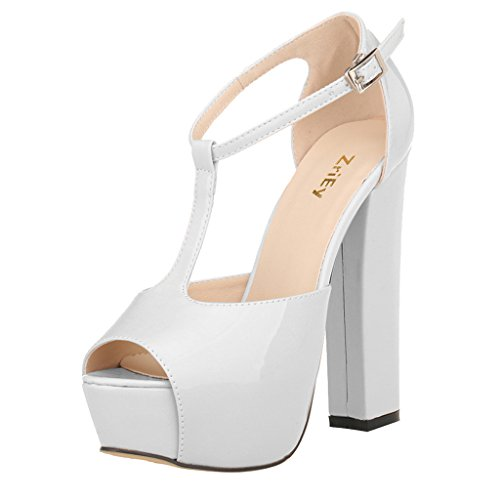 74707b6ba40b1 ZriEy Women's Peep Toe 14CM/5.5 inches High Heel T-Strap Platform Chunky  Heels Party Wedding Sandals - Buy Online in Oman. | Shoes Products in Oman  - See ...