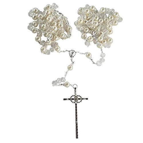 ue Wedding Lazo Laso Lasso Made in Italy Faux Pearl and Crystal Bead with Cap in Silver Double Ring Cross Wedding Ceremony Holy Matrimony Union Unity Marriage Boda Supplies ()