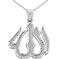 Middle Eastern Jewelry 925 Sterling Silver Islamic Allah Pendant Necklace
