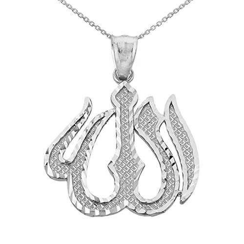 - Middle Eastern Jewelry 925 Sterling Silver Islamic Allah Pendant Necklace, 20