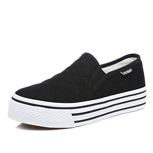 Renben Womens Canvas Slip On Flat Casual Sneaker Platform Fashion Low Top Shoes Black