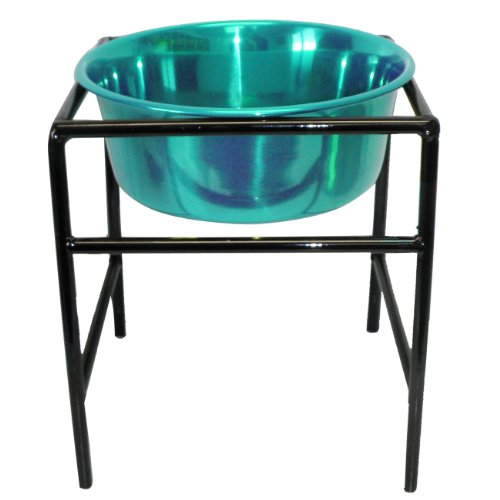 Platinum Pets Modern Single Diner Stand with 1-Quart Heavy Bowl, Teal by Platinum Pets