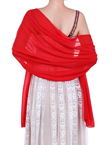 WILLBOND Womens Chiffon Bridal Evening Soft Wrap Scarf Shawl, Chiffon Scarf Ribbon Scarf for Women and Girls (Red)]()