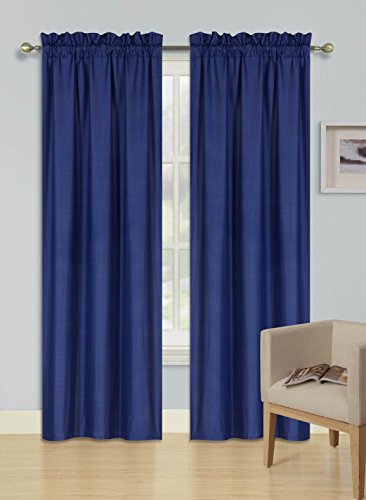 - GorgeousHomeLinen (R64) 1 Navy Blue Curtain Thermal Insulated Lined Foam Backing Rod Pocket Blackout Drape Panel (95