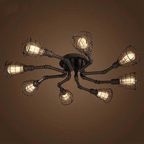 4 Lights Industrial Cage Pipe Pendant Light-LITFAD Retro Rustic Iron ...