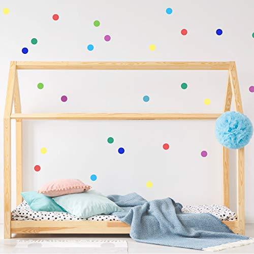 - Rainbow Polka Dot Wall Decal Confetti Round Stickers Decor for Kids Room - 2