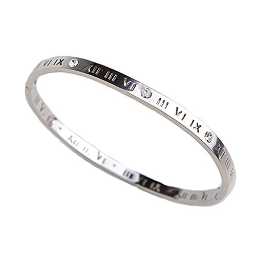 Cartier Inspired Jewelry (Baoli Zircon Jewelry Roman Numerals Bangle Bracelet for Women (Silver))