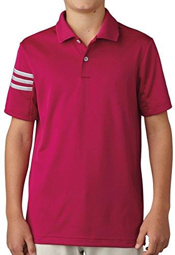 adidas Golf Boys Climacool 3 Stripes Polo Shirt, Ultra Beauty, Large
