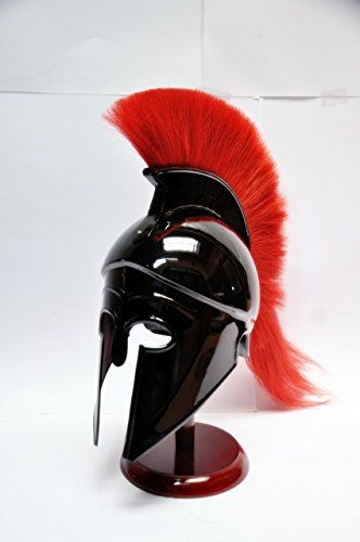 Greek Corinthian Helmet with Red Plume,Sca Armor Roman Armour Spartan Larp