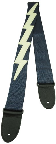 Perris Leathers NWSLBDX-94 Garment Leather Ends Guitar Strap Poly Pro Webbing Lightning Bolt, 2