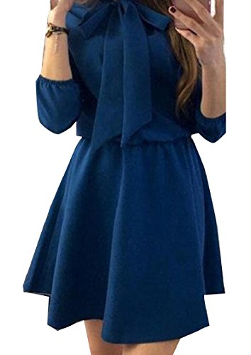 Short Navy Dress Color Tunic Wid Swing Sleeve Bow Women Blue Coolred Pure Long PzfnFwwq