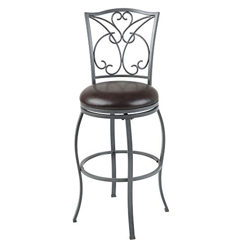 Leggett & Platt Columbia Swivel Seat Bar Stool with Ash Gray Finished Metal Frame, Detailed Scrolling and Chocolate Faux Leather Upholstery, 30-Inch Seat Height