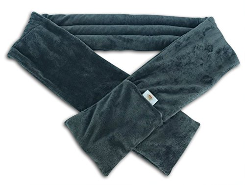 Savasana Now Herbal Warming Scarf - Microwavable. Soft Plush Fabric. Filled with Flaxseeds, Stone & Lavender. Grey Color.