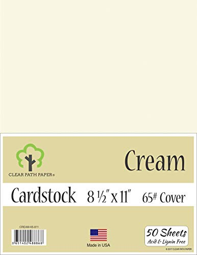 Cream White Cardstock - 8.5 x 11 inch - 65Lb Cover - 50 Sheets