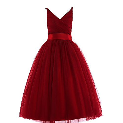 (Glamulice Girls Lace Bridesmaid Dress Long A Line Wedding Pageant Dresses Tulle Spaghetti Strap Party Gown Age 3-16Y (13-14Y, V-Wine)