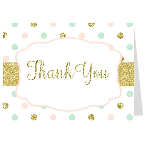 Shower Printed Confetti (Polka Dot Thank You Notes, Confetti Baby Shower, Wedding, Birthday Cards, Pink and Green, Mint, Gold, 50 printed folding notes with envelopes,)