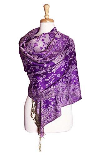- Paskmlna Reversible Paisley Pashmina Shawl Wrap Elegant Colors (#15Purple)