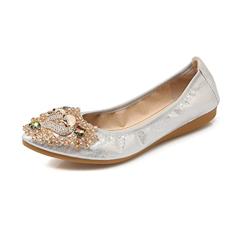 Rhinestone Meeshine Toe Flats Comfort Sliver Pointed Shoes Flat Ballet Foldable On Womens Slip UqwTrwaEA
