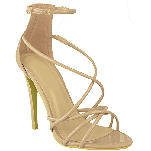 Barely High Toe Heel Strappy Nude Sandals Party Ankle Patent There Thirsty Fashion Womens Peep ABqzwIBE